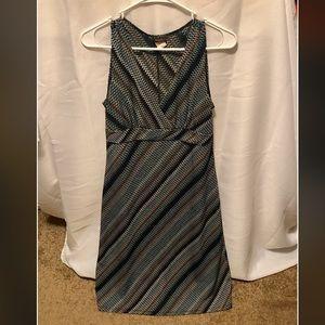 Black, White, Blue, Brown Abstract Print Dress